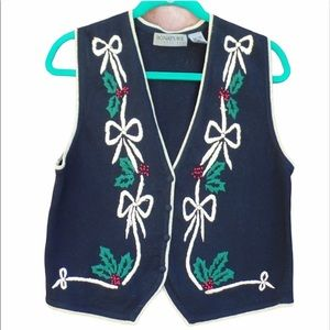 Signature Holiday Metallic Sweater Holly Vest S